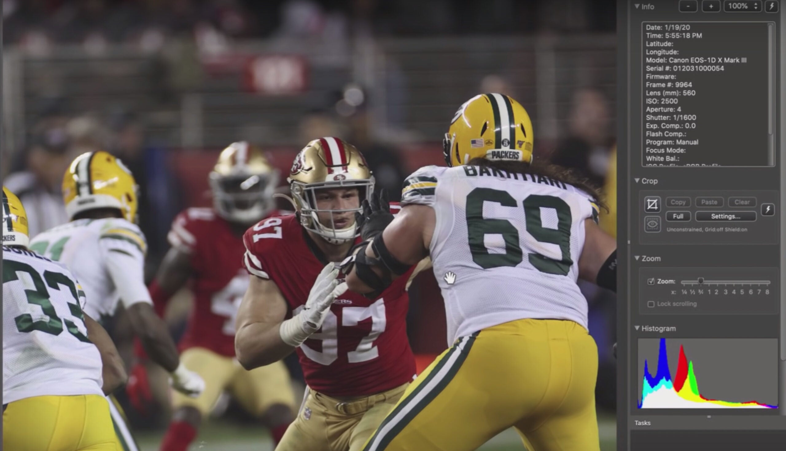 A sample image shot with the Canon 1D X Mark III during the San Francisco 49ers and Green Bay Packers playoff game