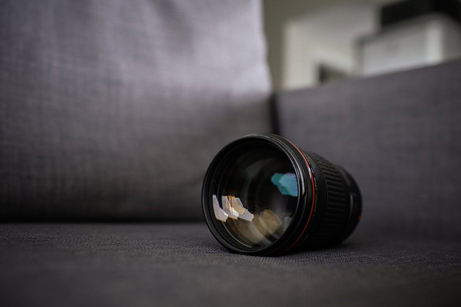 camera lens on a couch