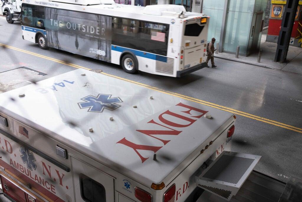 New York bus and ambulance