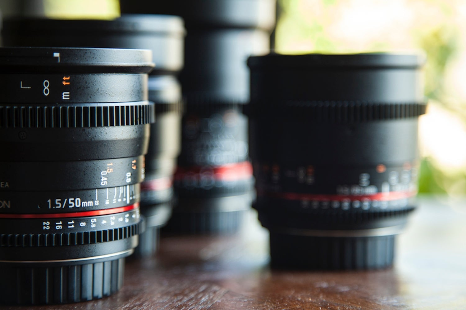 Camera lenses on table