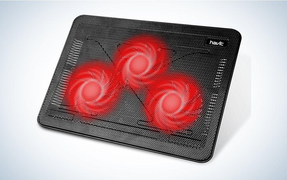 Havit HV-F2056 15.6-17 Inch Laptop Cooler Cooling Pad - Slim Portable USB Powered (3 Fans) (Black+Red)