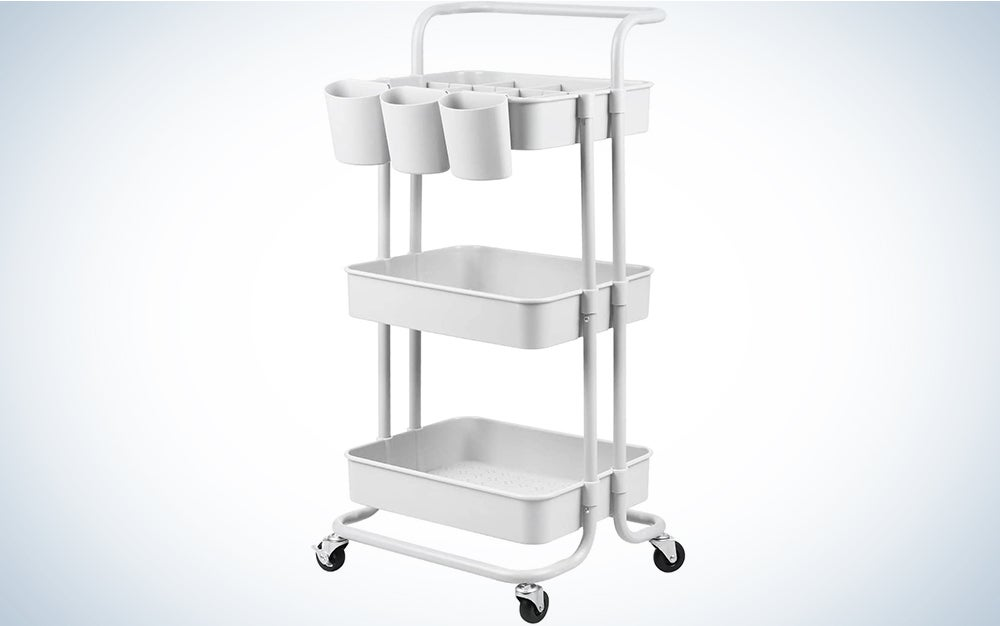 alvorog 3-Tier Rolling Utility Cart Movable Storage Organizer Shelves with Wheels and Hanging Cups Multifunctional Service Cart for Kitchen, Office, Coffee Bar-White