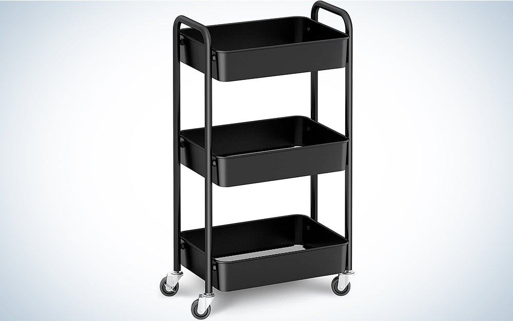 CAXXA 3-Tier Rolling Metal Storage Organizer - Mobile Utility Cart with Caster Wheels (Black)