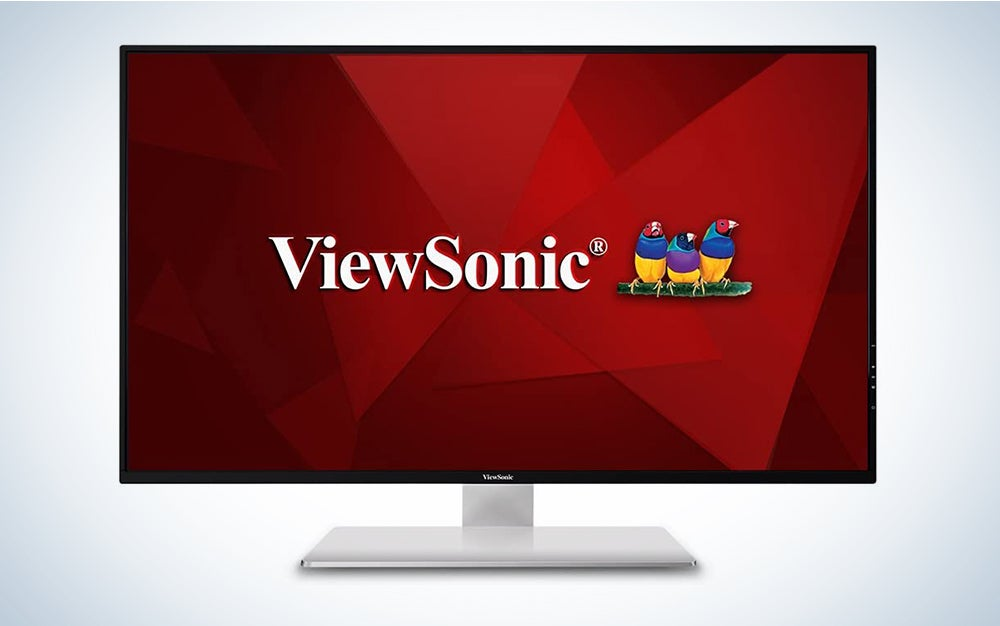 ViewSonic VX4380-4K 43 Inch Frameless Widescreen IPS 4K Monitor with HDMI USB and DisplayPort, Black/Silver