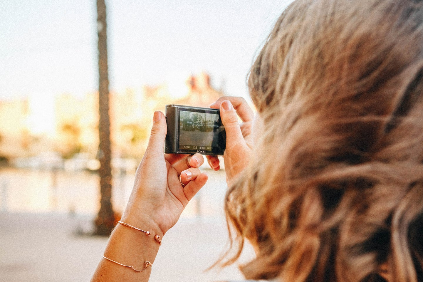 brunette woman holding a point-and-shoot camera outdoors