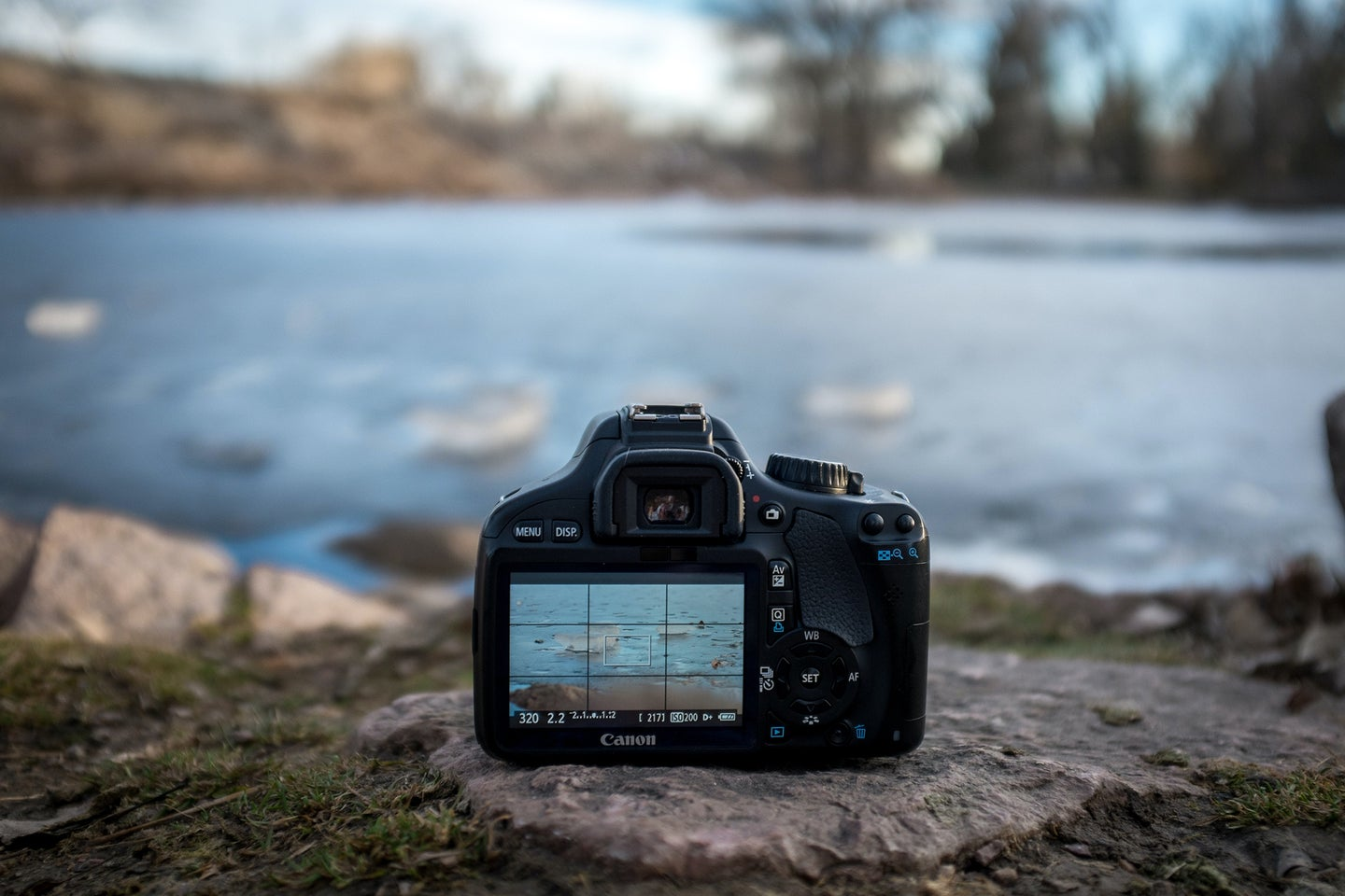 canon camera on a rock in front of a pond