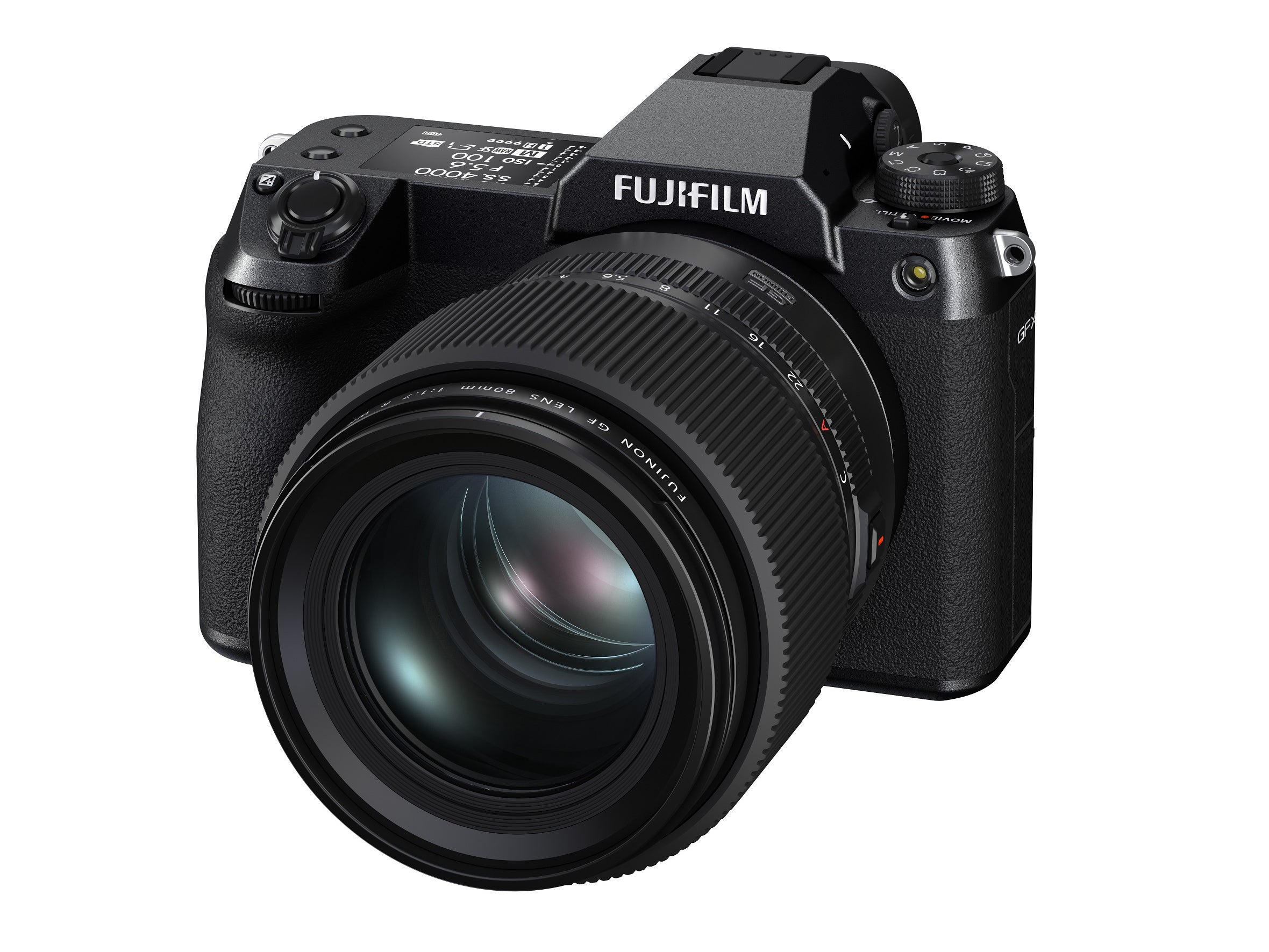 A front view of the Fujifilm GFX 100S camera with the new short portrait lens.