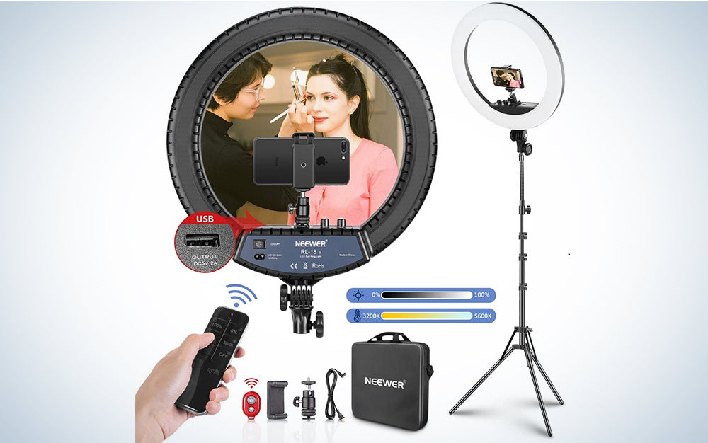 Neewer 18-inch LED Ring Light with Stand and 2.4G Wireless Remote