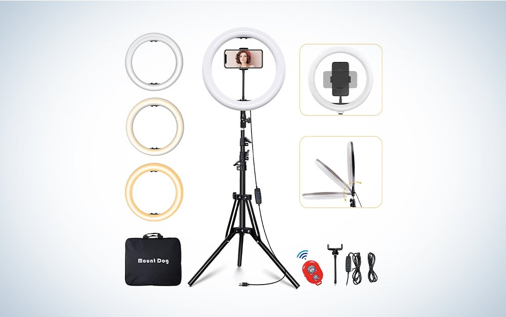 MountDog LED Ring Light 14 inch Dimmable Selfie Ring