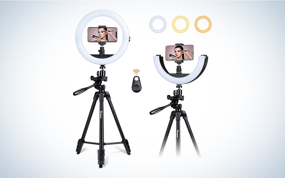 Inkeltech Selfie Ring Light Dimmable LED Light Ring with Tripod