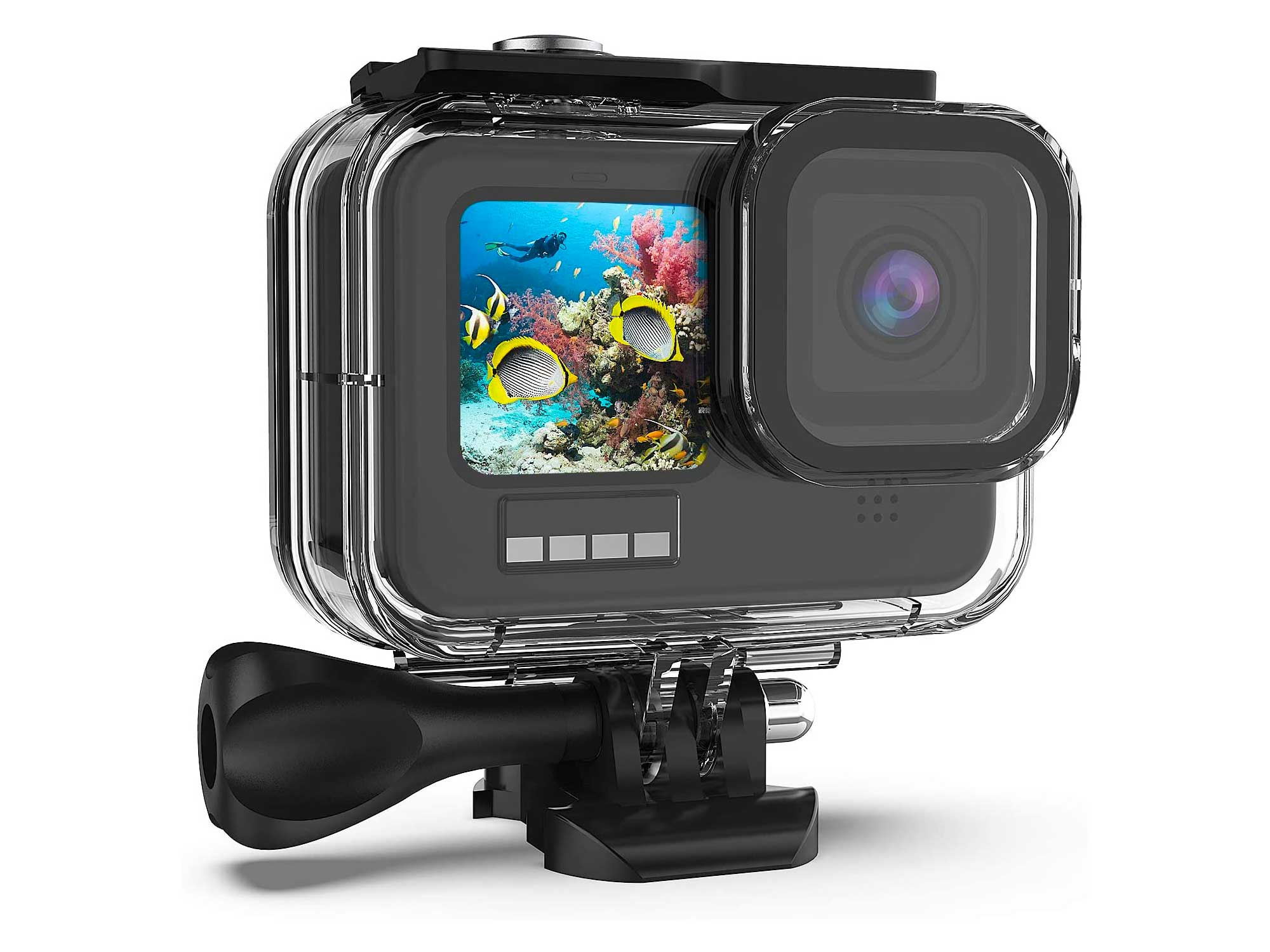 Kupton Waterproof Housing Case Compatible with GoPro HERO9 Black, 60M/196FT Underwater Protective Diving Case Shell with Bracket Mount Accessories Compatible with Hero 9 New Hero