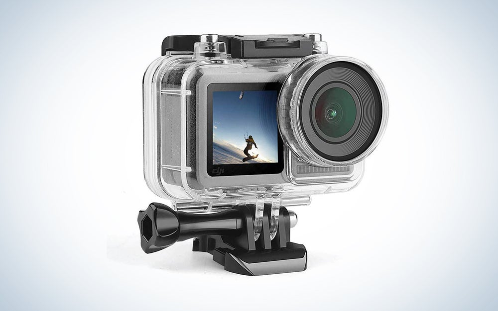 dji osmo action cam in a translucent case