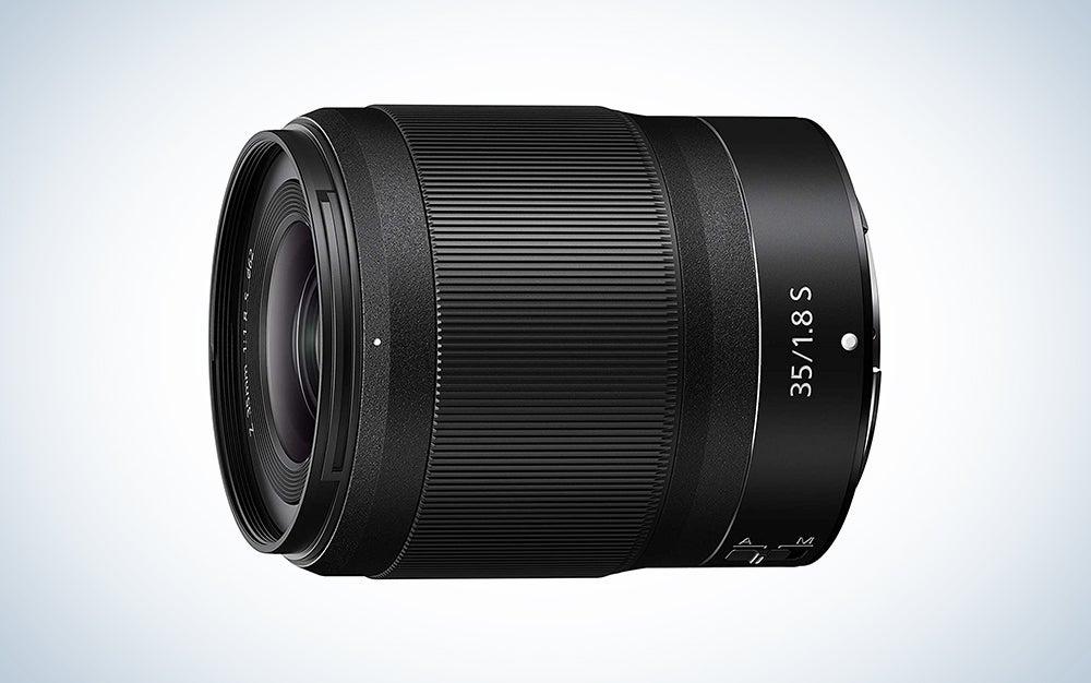 black nikon lens