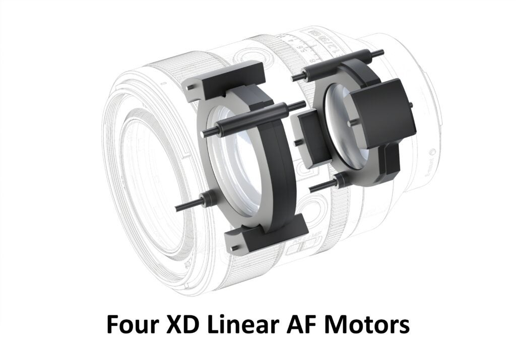 A diagram of the Sony 50mm f/1.2's XD linear motors