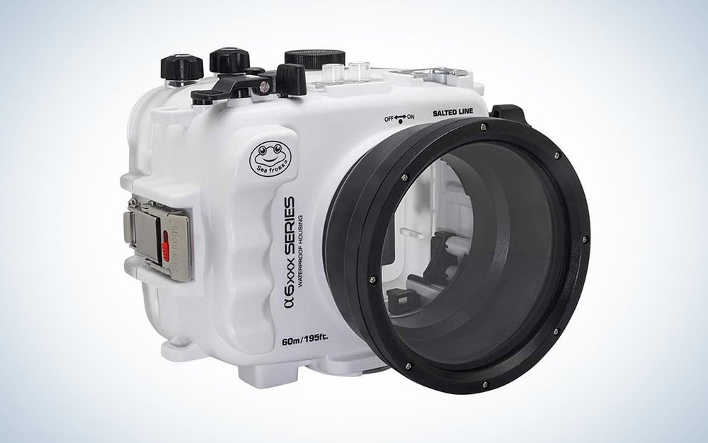 white underwater camera case with a lens cover is great waterproof housing