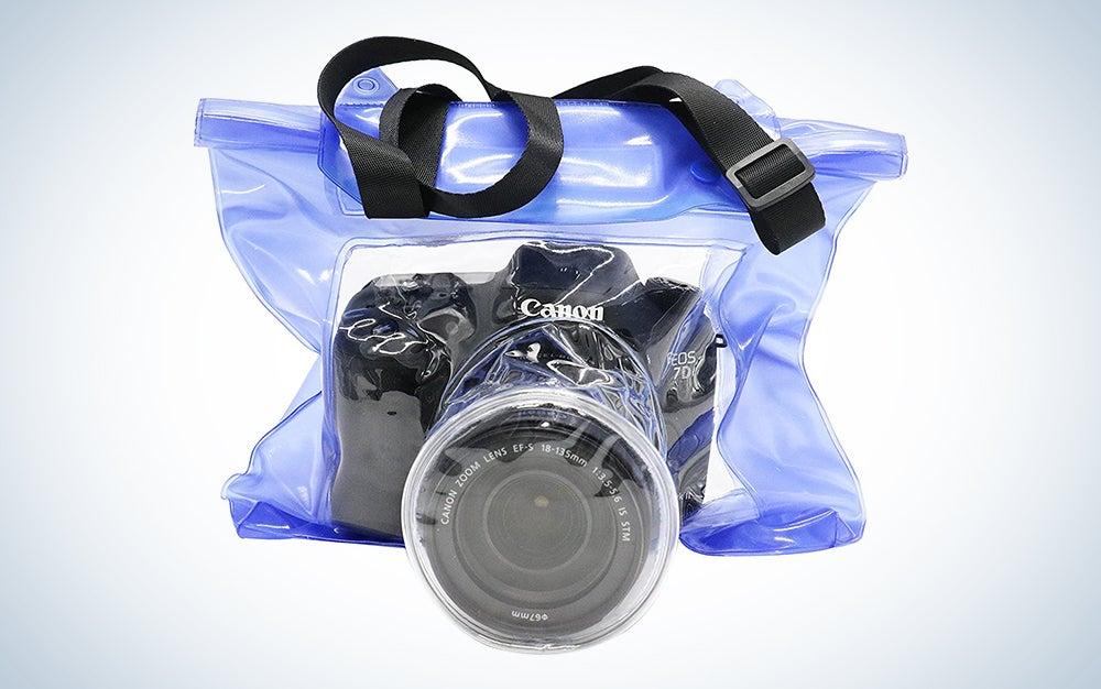 canon camera in an underwater camera case