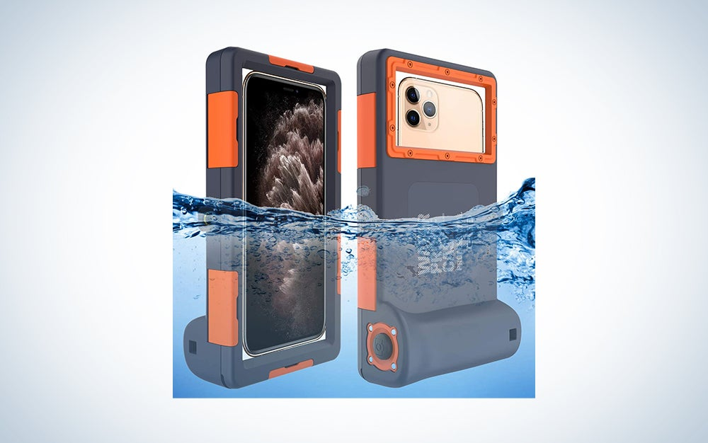 smartphone in an orange and grey waterproof case under water
