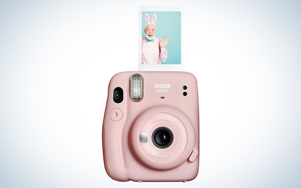 pink fujifilm instax camera with a print for Mother's Day