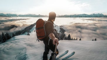 best selfie stick man on a mountain
