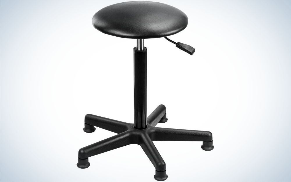 A black stool with cylinder black seat, with black lever under the seat stool and five pedestal feet on surface.