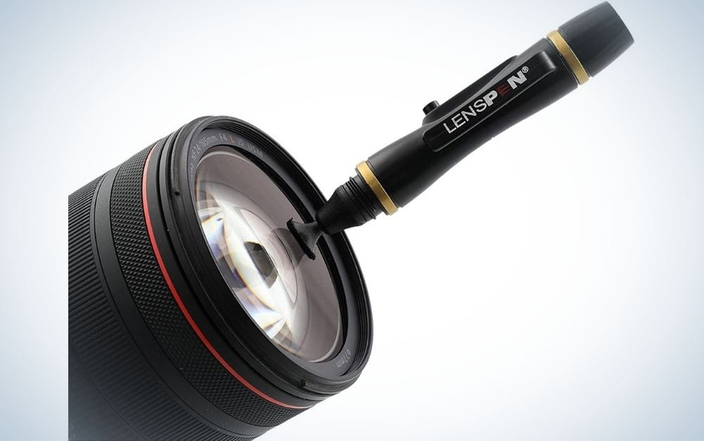 Black LensPen with glass lens and and twist cap in front of it.