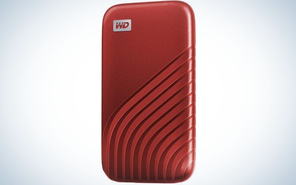 Red WD item with portable solid state drive.
