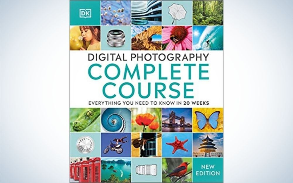 Cover of Digital Photography Complete Course book with colorful and different images into it.