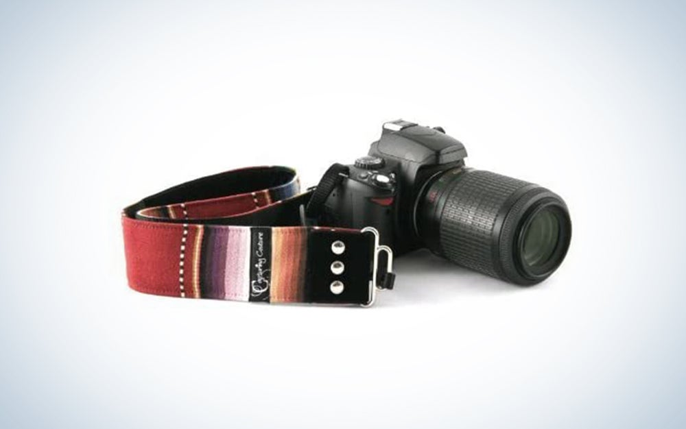 colorful strap attached to camera