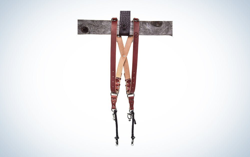 leather strap on wood