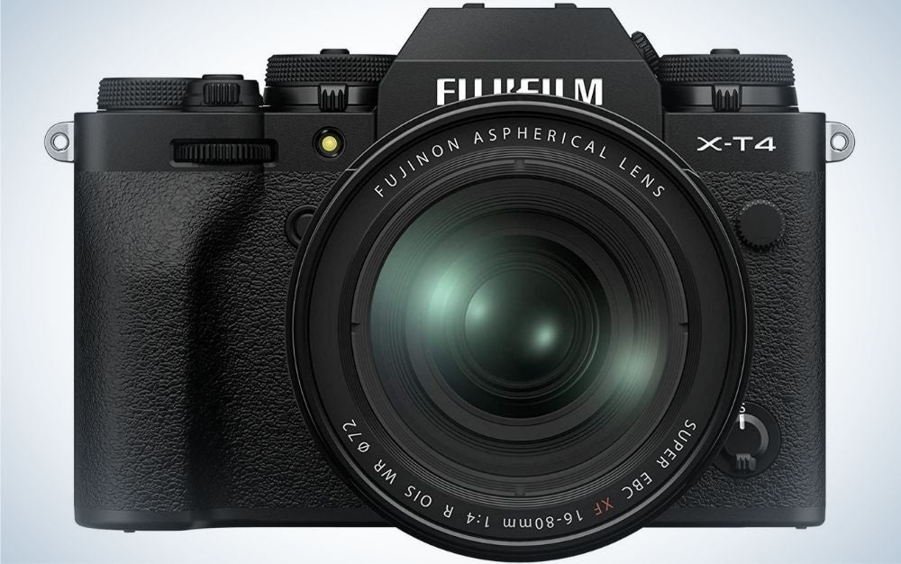 All black Fujifilm camera X-T4 from the front.