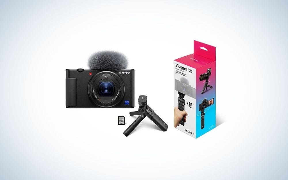 A black Sony camera with tripod for Father's Day gifts
