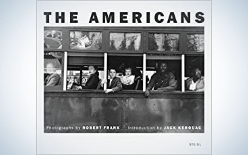 """The black and white first page of the photobook called """"The Americans"""" and a picture of people into train windows."""