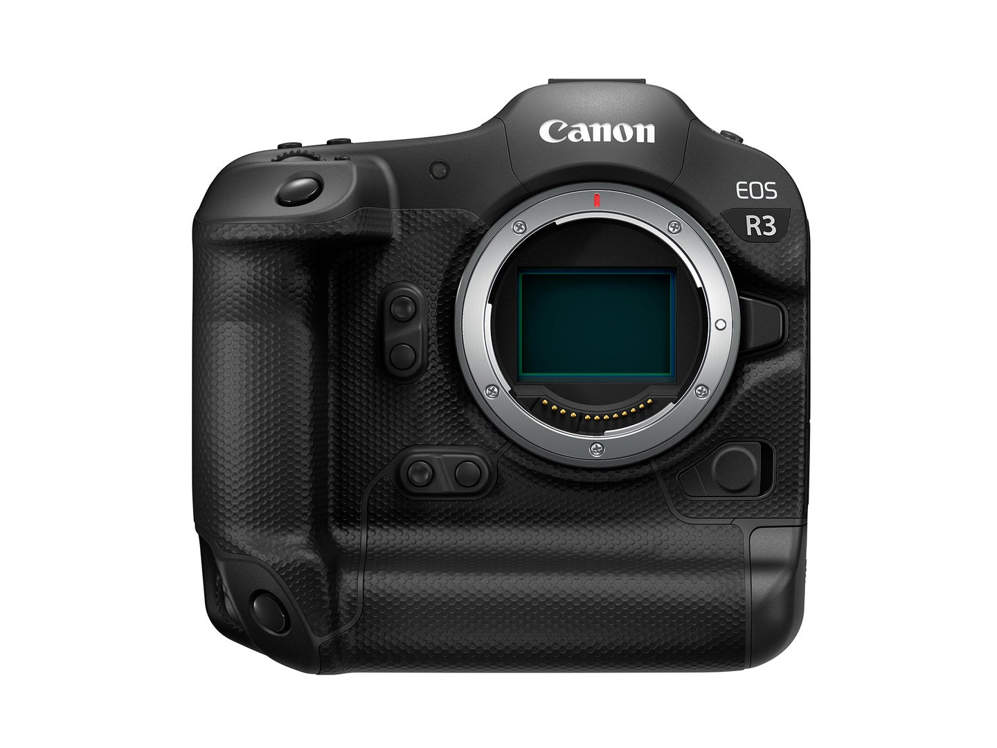 Canon EOS R3 with no lens on a white background