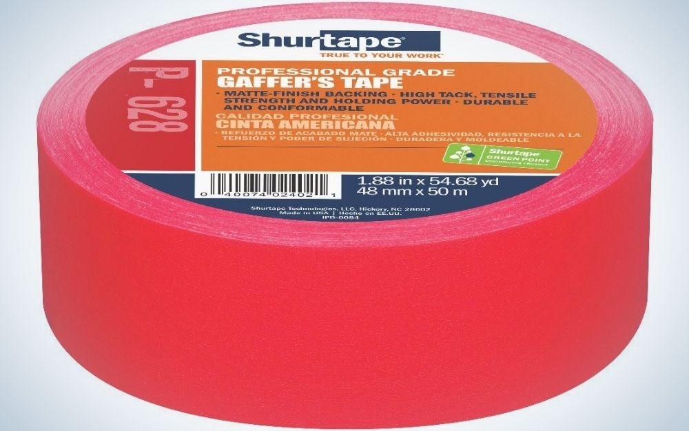 A Shurtape gaffer tape in a circle shape and all red color.