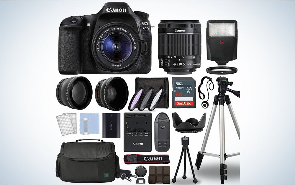 black canon eos 80d dslr camera prime day