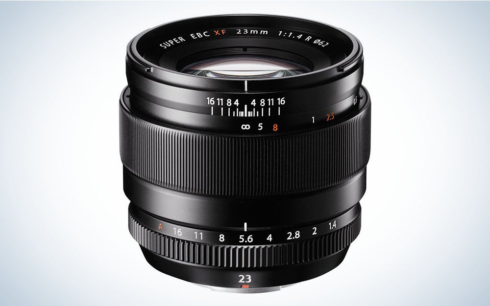 The Fujifilm XF 23mm F:1.4 R Lens is the best Fuji wide angle prime lens for portraits.