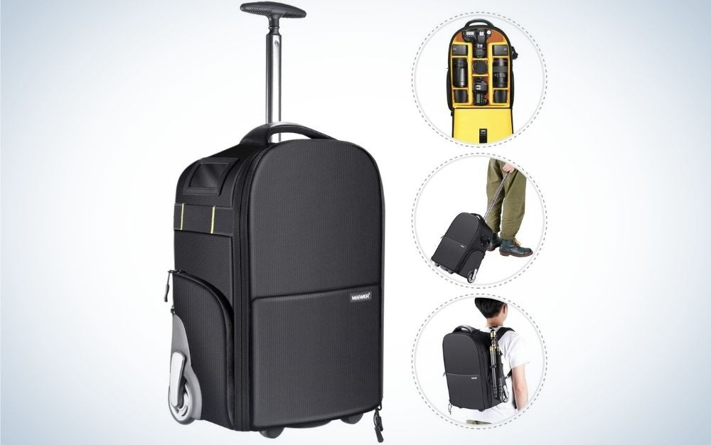 The Neewer wheeled camera backpack is the best gift for traveling with gear.