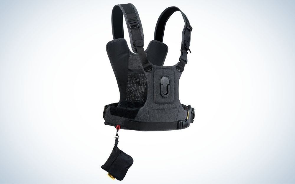 Black and gray camera harness system for one camera