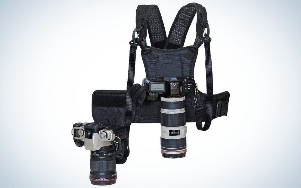Black dual camera strap harness vest with mounting hubs, side holster, and backup safety