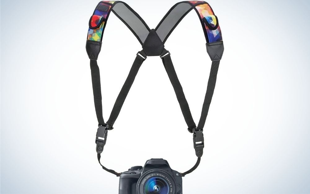 Camera strap chest harness with quick release buckles, geometric neoprene pattern, and accessory pockets