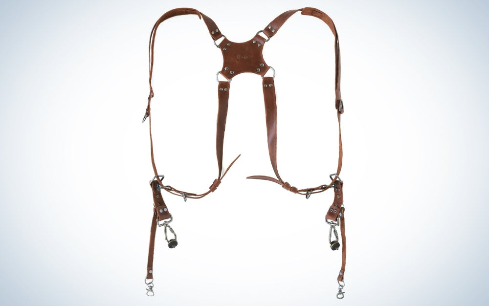 Brown, dual shoulder, leather camera harness for multiple cameras