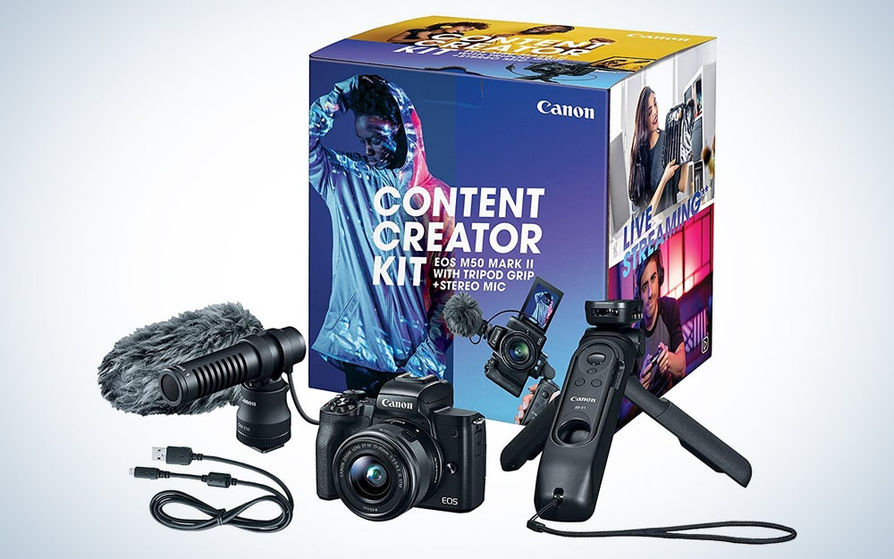 one of the best cameras you can buy in front of a box with a microphone and tabletop tripod