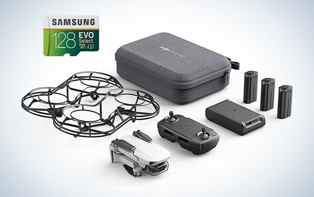 a white drone with controller, batteries, case, cage and memory card, one of the best Prime day deals on camera gear