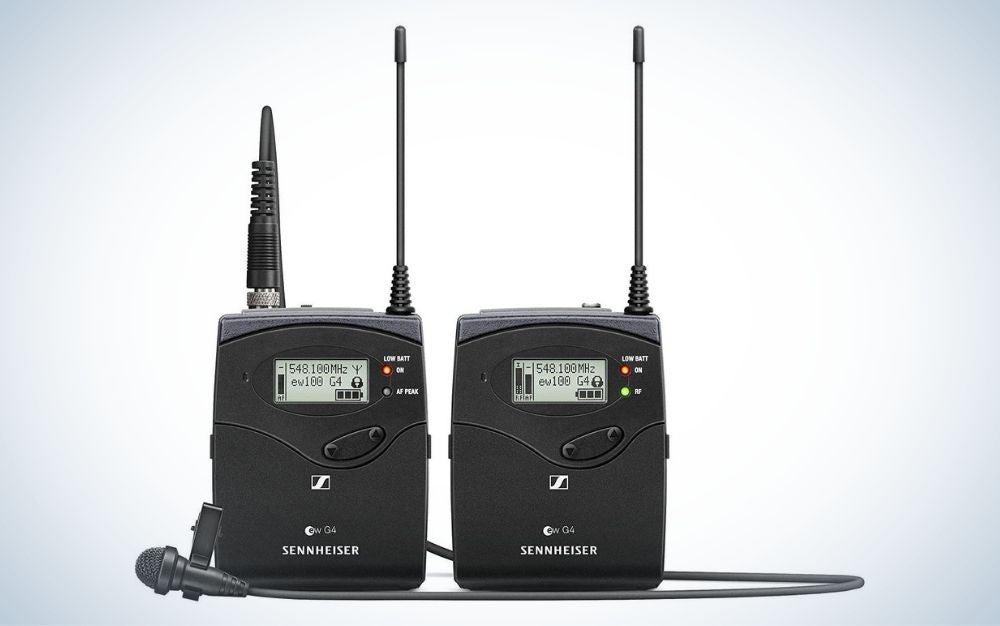 Black, wireless lavalier microphone system