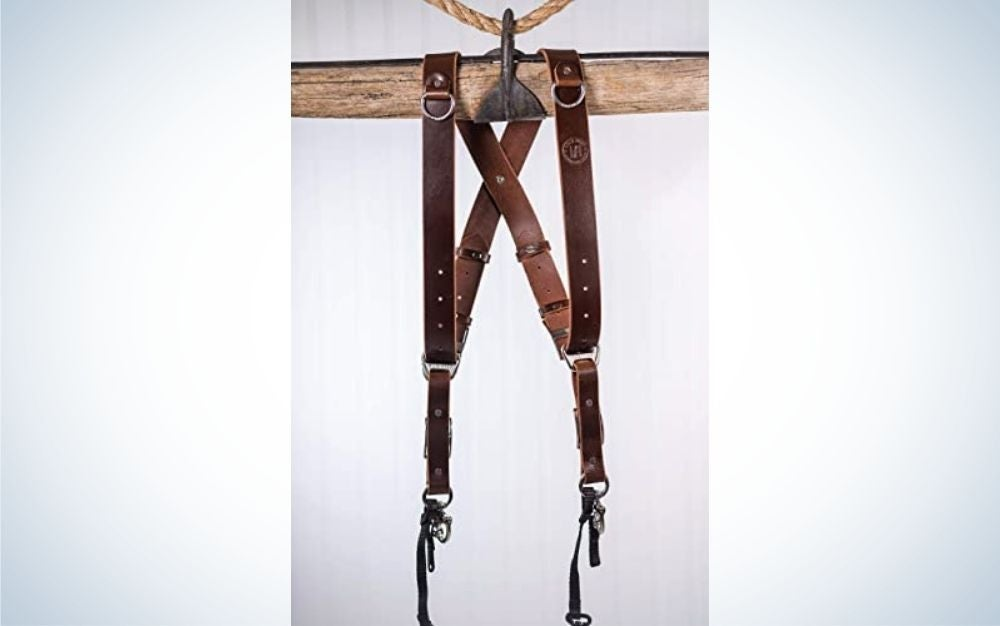 The HoldFast Money Maker is the best leather harness for two cameras.