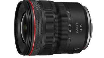 Canon RF 14-35mm f/4 L IS Lens on white background
