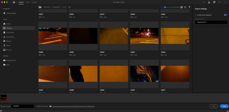 Adobe Premiere Pro import
