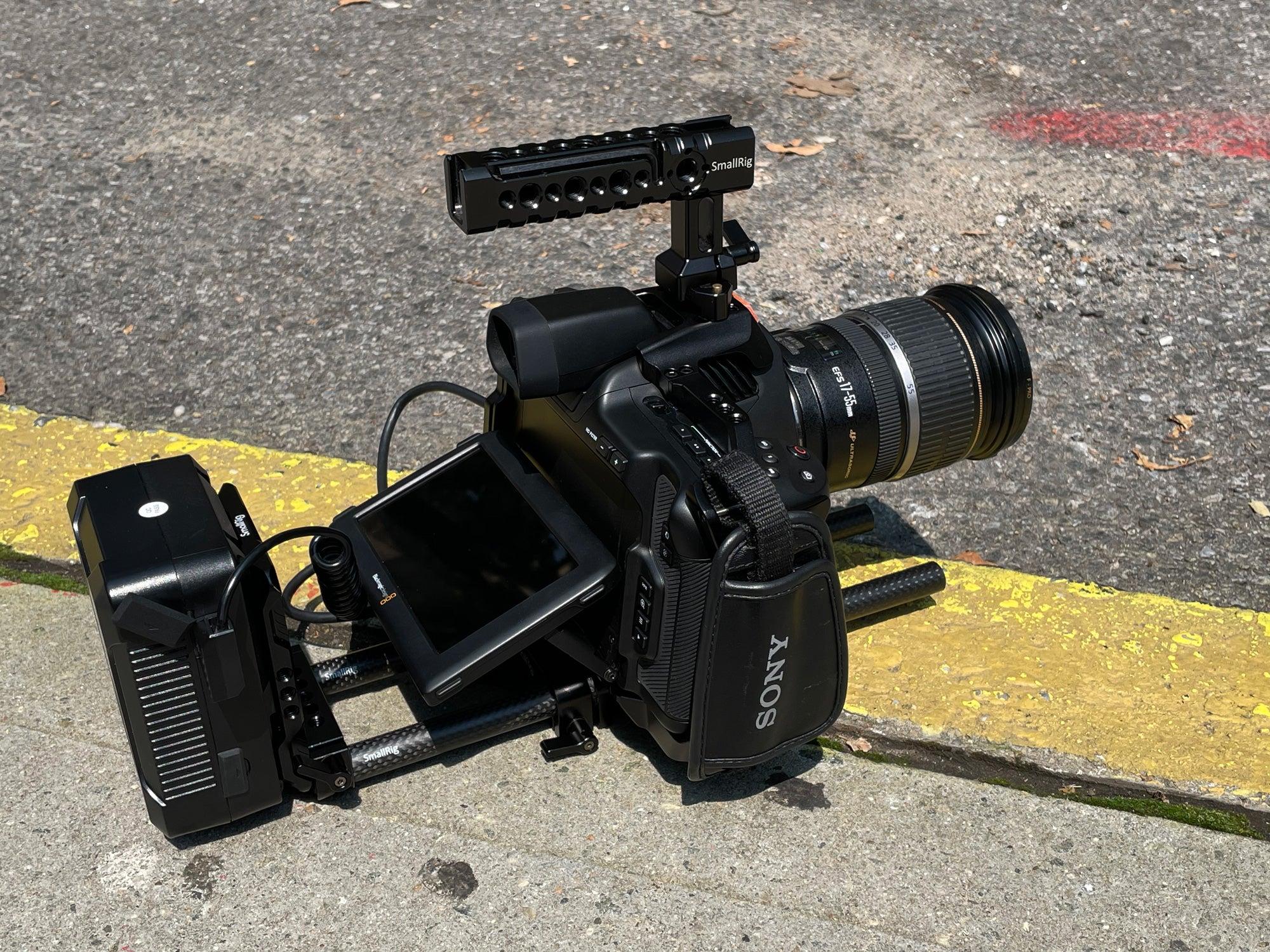 Blackmagic Pocket 6K Pro with lens on concrete