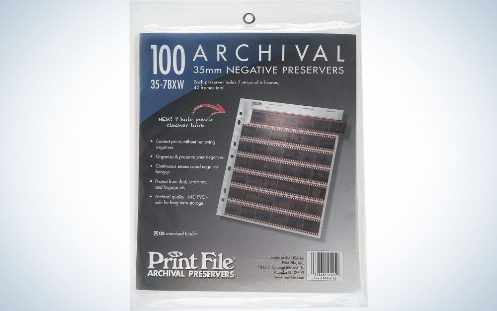 The Print File 35-mm Archival Negative Preservers are the best storage for negatives.
