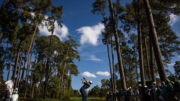 A golfer teeing off between tall trees.